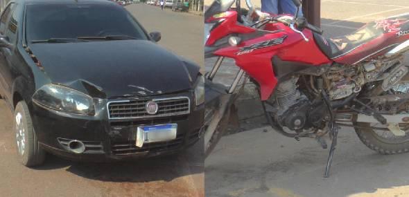Adolescente tem fratura exposta após colisão entre carro e moto, em Itaituba