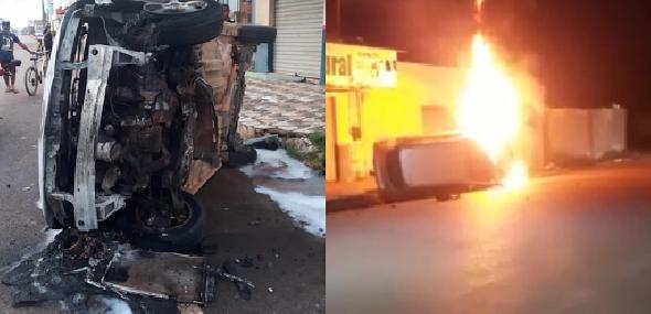 Carro pega fogo após colidir contra meio-fio de calçada e tombar, em Itaituba