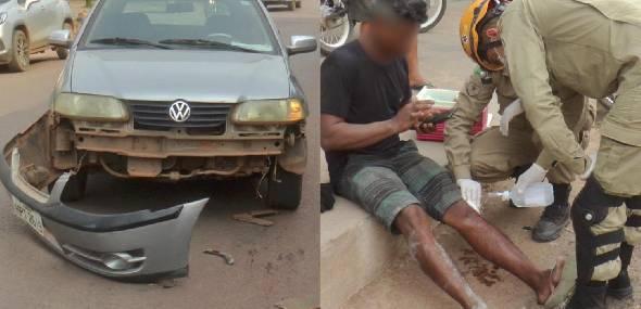 Colisão entre carro e moto deixa homem ferido, em Itaituba