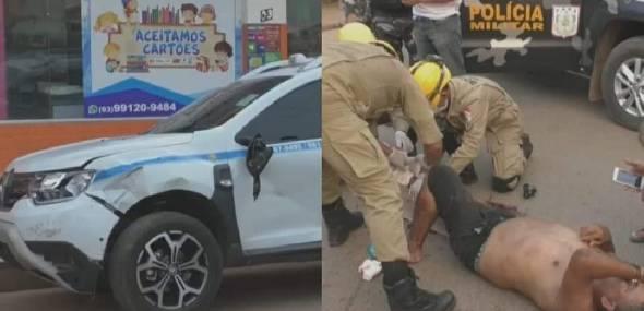 Colisão entre moto e carro deixa homem ferido, em Itaituba