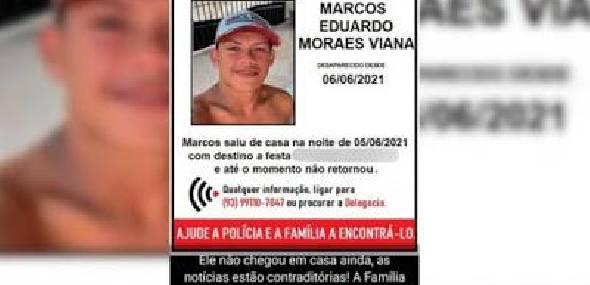 Corpo do jovem que estava desaparecido foi encontrado na manhã desta terça feira (08/06), em Itaituba sul do oeste do Pará
