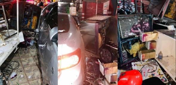 Em Itaituba, carros invadem calçada após colisão, destroem máquinas e causam prejuízo de R$ 60 mil à empresa