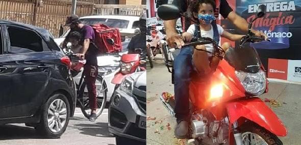 Entregador consegue emprego e moto após viralizar trabalhando com filha na garupa de bicicleta