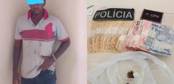 Suspeito de tráfico de drogas é preso pela polícia no distrito de Castelo dos Sonhos