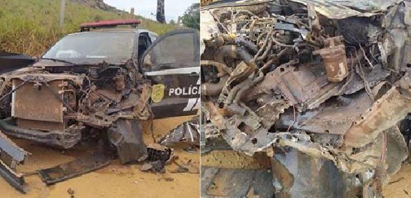 Viatura da Polícia Civil se choca com caminhão boiadeiro em vicinal de Itaituba